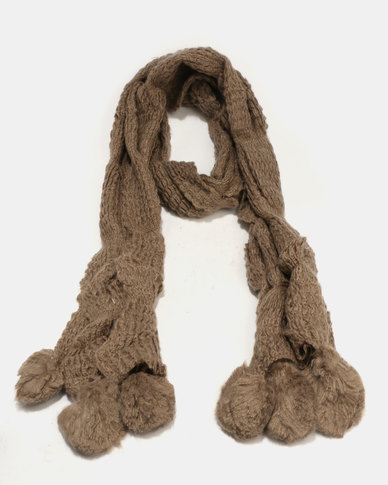 Joy Collectables Pom Pom Scarf Brown
