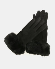 Joy Collectables Faux Fur Trim Gloves Black