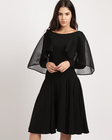 Erre Hi-Low Sleeve Flared Dress Black