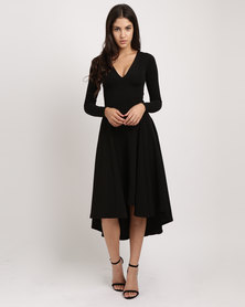 Erre Back Cut-Out Detail Hi-Low Dress Black