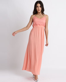 Legit Strappy Maxi Dress With Lace Bodice Coral