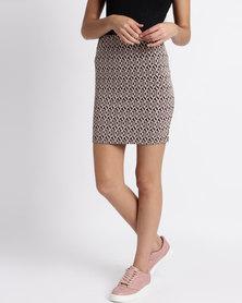 Legit Jacquard Geo Printed Tube Midi Skirt Multi