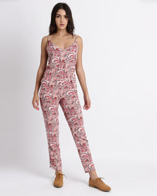 Legit Strappy Paisley Printed Jumpsuit Pink