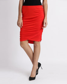 Legit Side Ruched Drapey Tube Midi Skirt Red