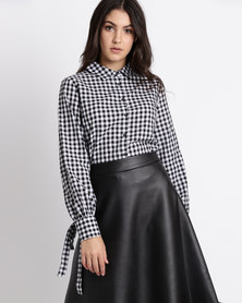 Legit Long Sleeve Gingham Shirt With Cuff Tie Detail Black/White