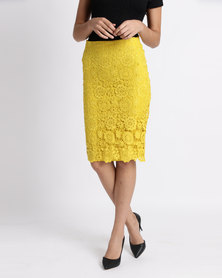 Legit All Over Lace Pencil Skirt Chartreuse