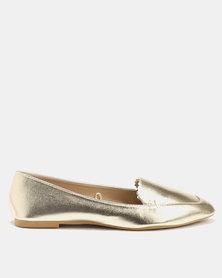 Scalloped Edge Metallic Loafer Gold