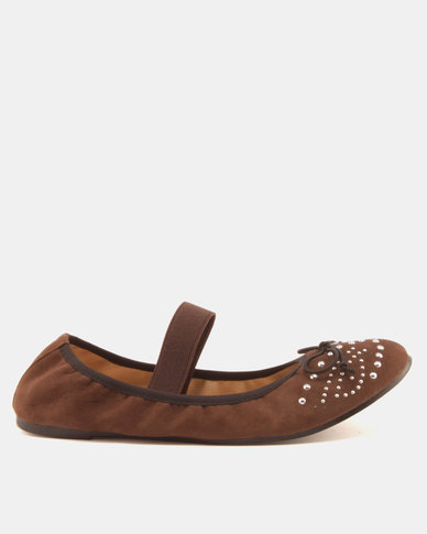 Legit Suede Embellish Pumps Brown