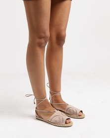 Legit W18- Laser-Cut Espadrille with Nailheads and Ankle Strap Blush