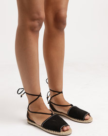 Legit W18- Laser-Cut Espadrille with Nailheads and Ankle Strap Black