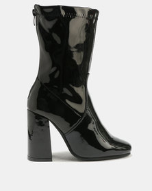 Patent Square Toe Block Heel Boot Black