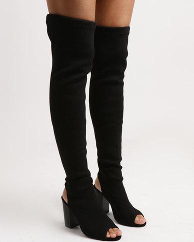af14234b088 Legit Long Peep Toe Sock Boot on Block Heel Black