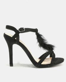 Fur Heeled Strappy Sandal Black