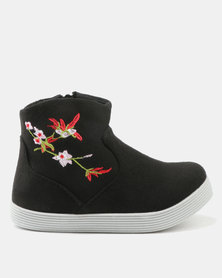 AWOL Girl Embroidered Detail Ankle Boots Black