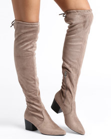 Utopia Over The Knee Block Heel Boot Taupe