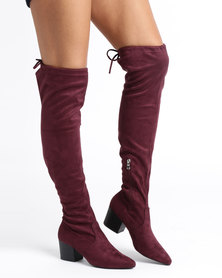 Urban Zone Urban Zone Block Heel Over the Knee Boots Navy huge surprise cheap price a5kOH6xrz1