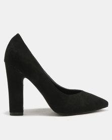 Utopia Pointy Block Heels Black