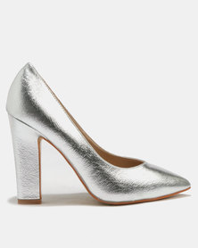 Utopia Pointy Block Heels Silver
