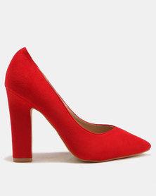 Utopia Pointy Block Heels Red