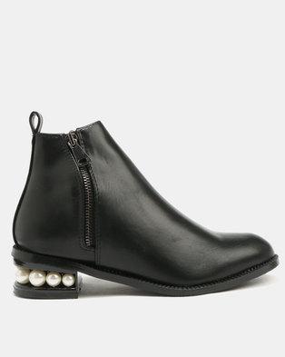 Utopia Pearl Heel Ankle Boots Black