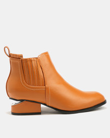 Utopia Gusset Ankle Boots Tan