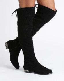 Utopia Encrusted Heel Boots Black