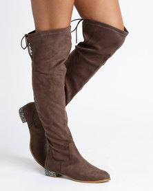 Utopia Encrusted Heel Boots Taupe