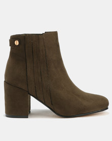 Utopia Strip Gusset Boots Olive