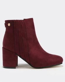 Utopia Strip Gusset Boots Bordeaux