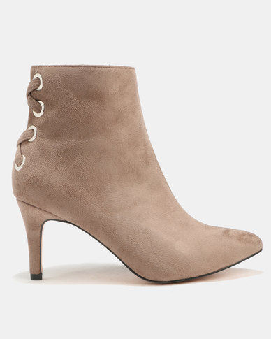 Utopia Back Lace Booties Taupe