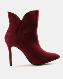 Utopia Flare Gusset Boots Burgundy
