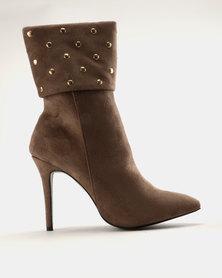 Utopia Stud Collar Boots Taupe