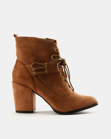 Utopia Utopia Lace Up Block Heel Boots Tan