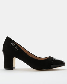 Gino Paoli Suede Block Court Heels With Toe Cap Black