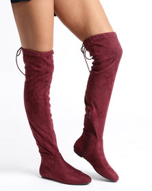 Gino Paoli Suede Over The Knee Flat Boots Burgundy