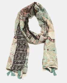 G Couture Larger Size Cotton Tassel Scarf Multi