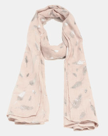 G Couture Feather Foil Print Scarf Stone