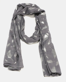 G Couture Feather Foil Print Scarf Charcoal