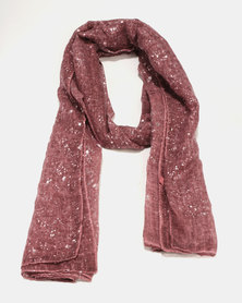 G Couture Silver Splatter Print Scarf Dustry Pink