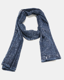 G Couture Silver Splatter Print Scarf Denim Blue