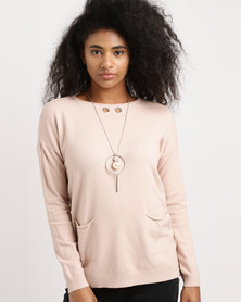 G Couture Knitwear With Detachable Chain Pink