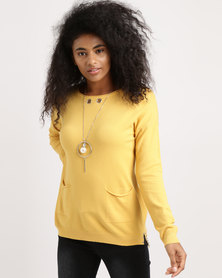 G Couture Knitwear With Detachable Chain Mustard