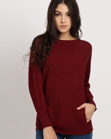 G Couture Dolman Boat Neck Ribbed Jumper Deep Wine