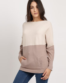 G Couture Dolman Boat Neck Ribbed Jumper Taupe