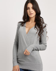 G Couture Metallic Wrap Jumper Silver
