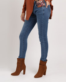 G Couture Denim Jeans With Embroidered Tape Blue
