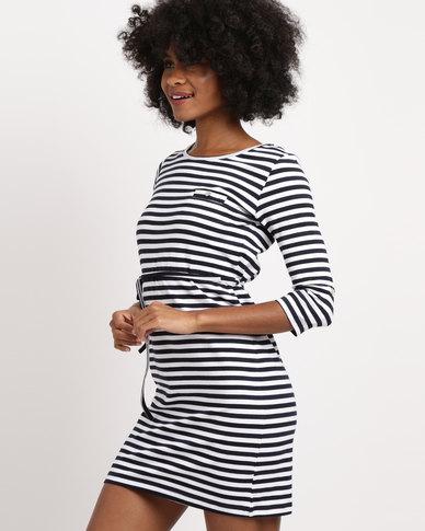 Utopia Stripe 3/4 Sleeve Basic T-Shirt Dress Navy