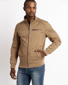 JCrew Cotton Bomber Jacket Camel