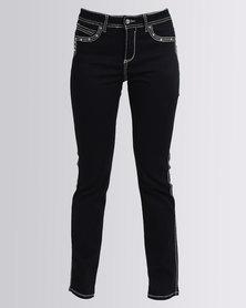 Queenspark Thick Stitch Diamante Woven Denim Jeans Indigo