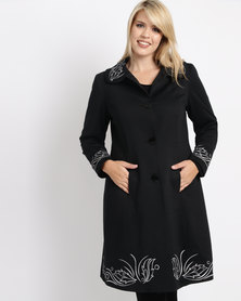 Queenspark Plus New Cornelli Knit Coat Black